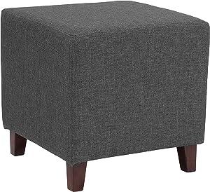 Flash Furniture Ascalon Upholstered Ottoman Pouf in Dark Gray Fabric