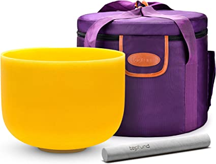 TOPFUND Perfect Pitch E Note Crystal Singing Bowl Solar Plexus Chakra 10 inch with Heavy Duty Crystal Singing Bowl Case and Crystal Singing Bowl Suede Striker and O-ring