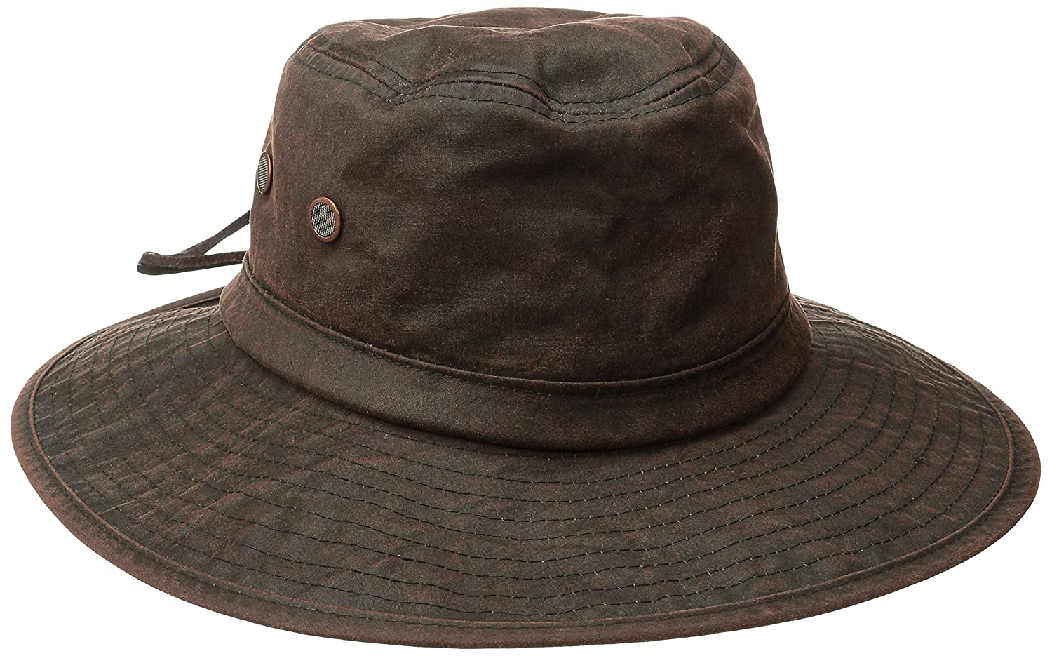 cfc771d0b117d San Diego Hat Co. Men s Distressed Wax Cloth Hat with Adjustable Suede Chin  Cord