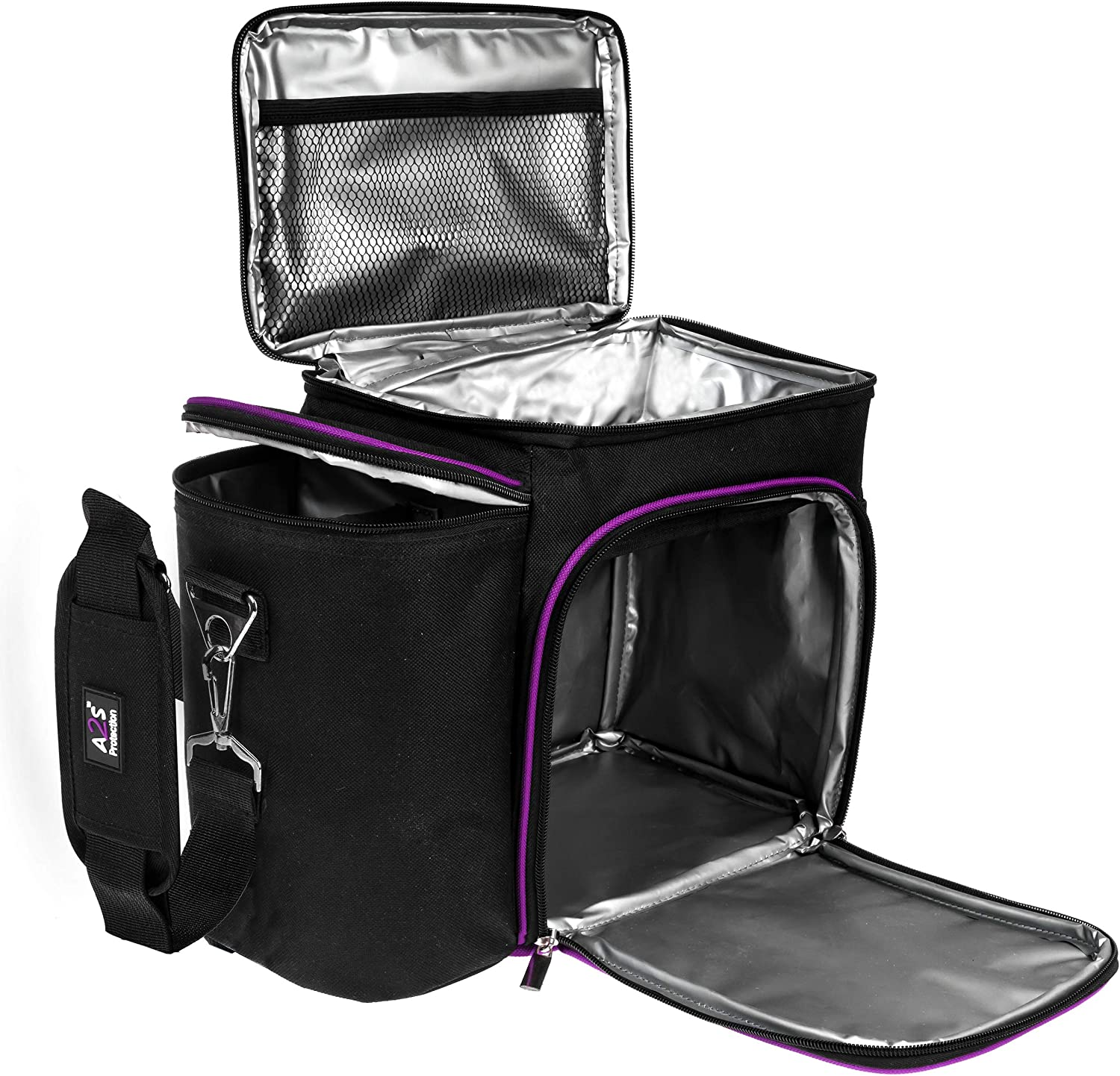A2S Meal Prep Lunch Box - Cooler Bag - Meal Bag - Keep your Daily Food Snacks & Beverages Cool and Intact (Black/Purple Bag Only)