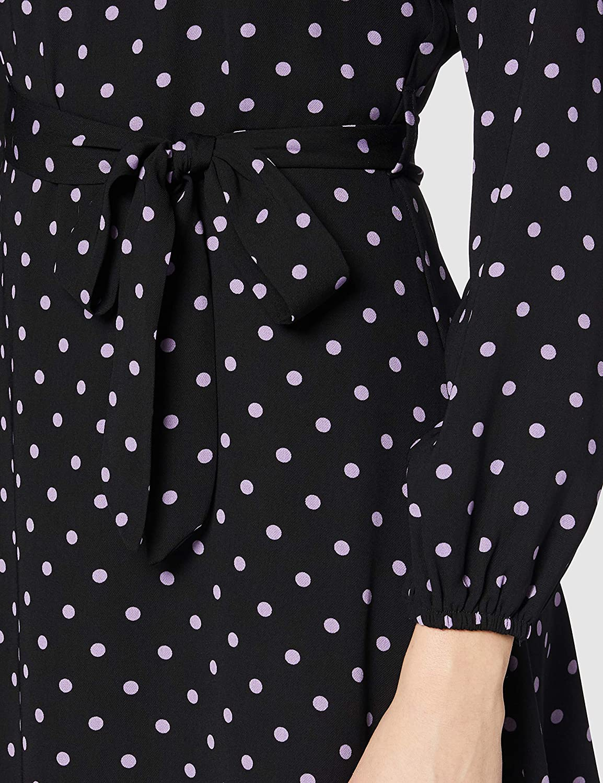 Dorothy Perkins Damen Lilac Spot Long Sleeve Pleat Neck Fit and Flare Dress L/ässiges Kleid