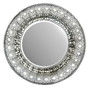 "Lulu Decor, 19"" Oriental Round Silver Metal Beveled Wall Mirror, Decorative Mirror for Home & Office (Oriental 19"")"