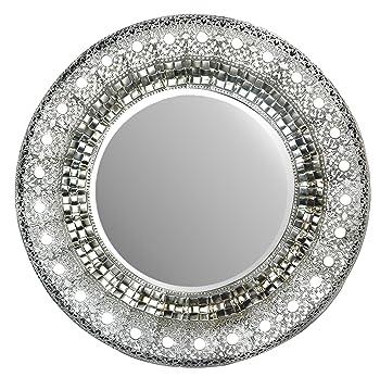 Oriental Round Silver Metal Beveled Wall Mirror