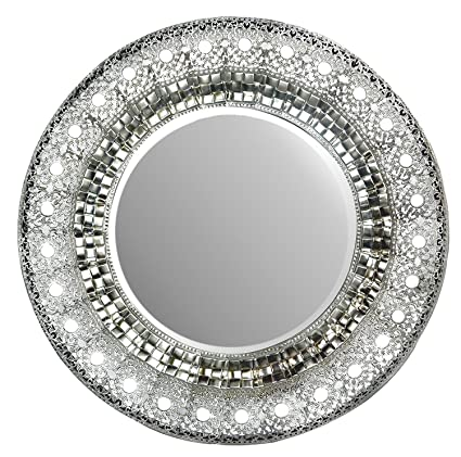 Amazon Com Lulu Decor 19 Oriental Round Silver Metal Beveled Wall