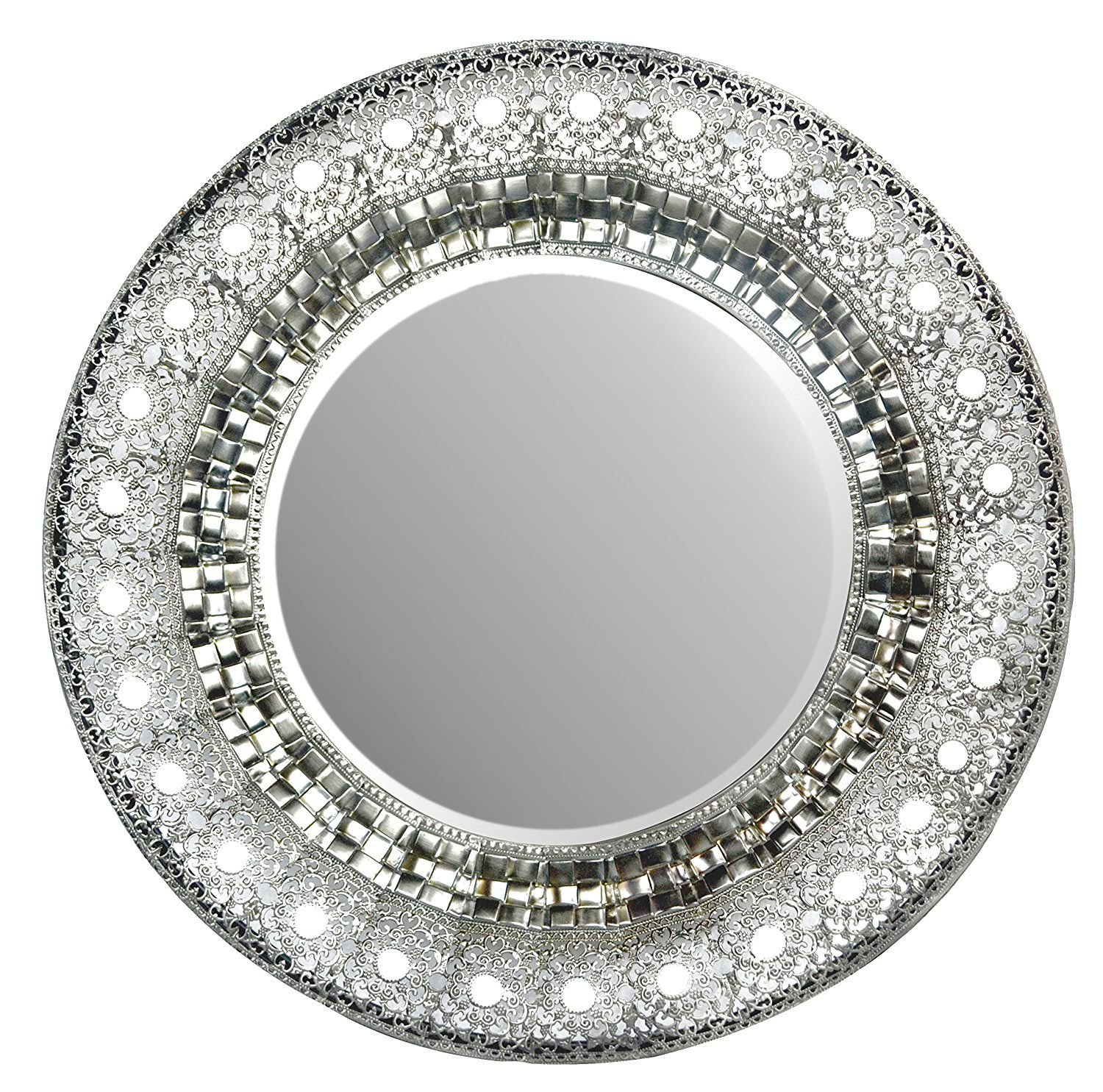 LuLu Decor, 19'' Oriental Round Silver Metal Beveled Wall Mirror, Decorative Mirror for Home & Office