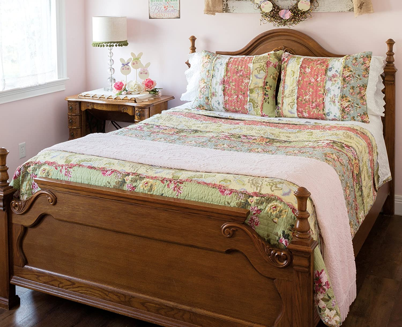 Amazon.com: Emily\'s Garden Ruffled Rag 3pc Quilt Set (Full/Queen ...