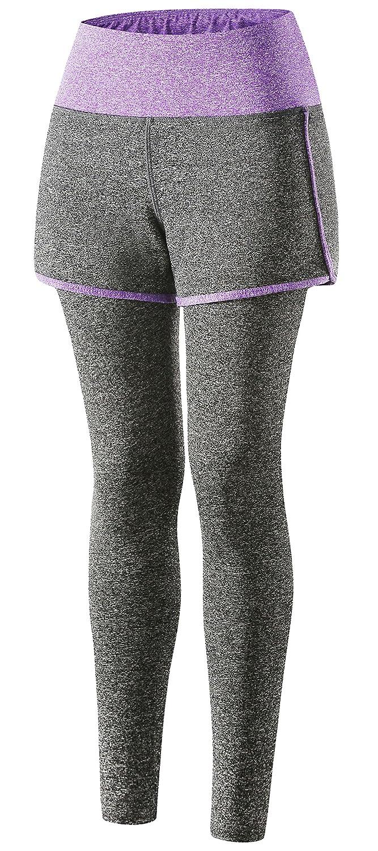 Wantdo Women's Yoga Leggings Layered Mini Skirt Active Pants