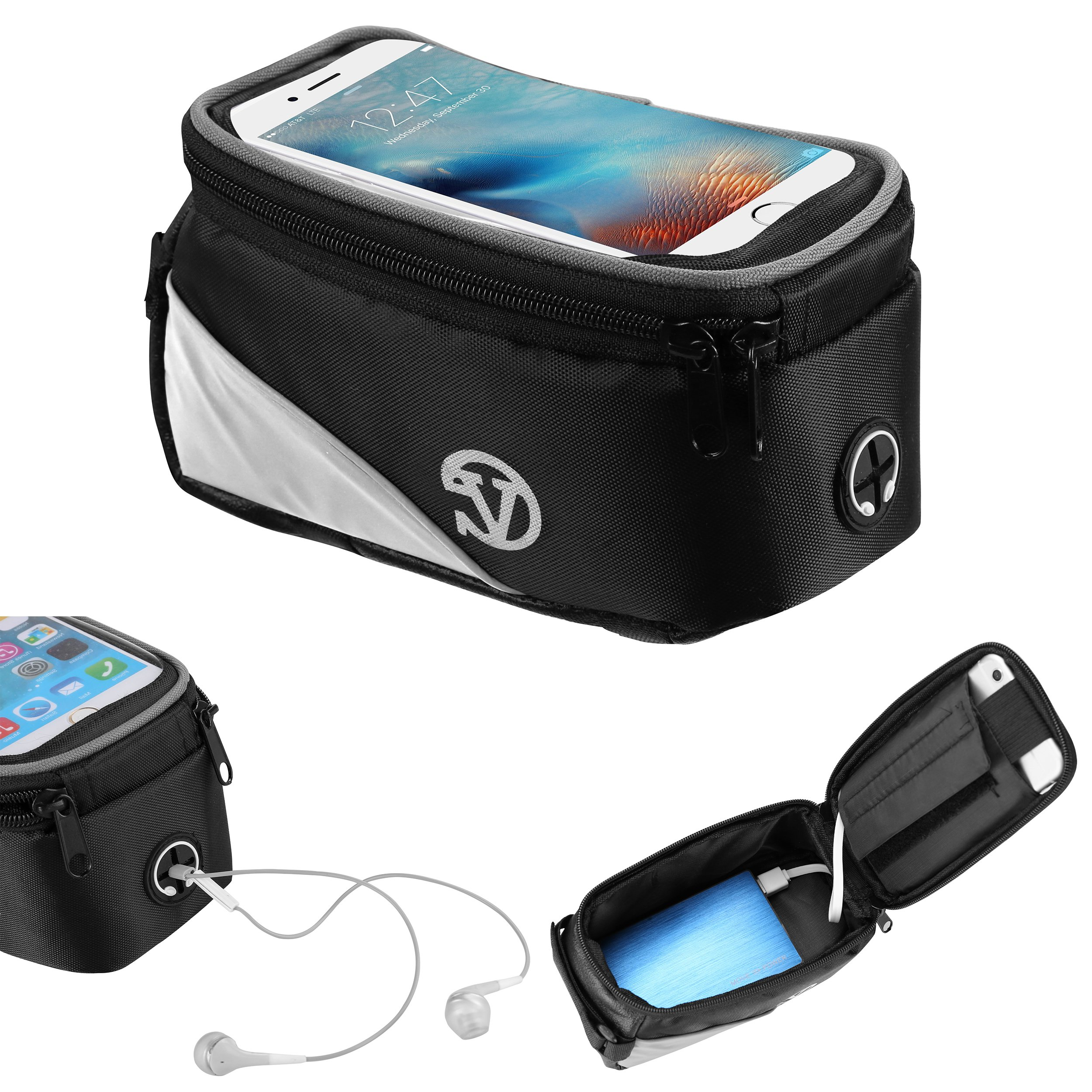 Vangoddy Outdoor Cycling Bag Cellphone Pouch Bike Bag Frame Bag for LG V35/Q7/K30/V30S ThinQ/Zone 4/Aristo 2/Tribute Dynasty/Signature Edition/LS7 4G LTE/K7i Mosquito Away/V30+/V30/Q8/Q6/K7 2017/G6+