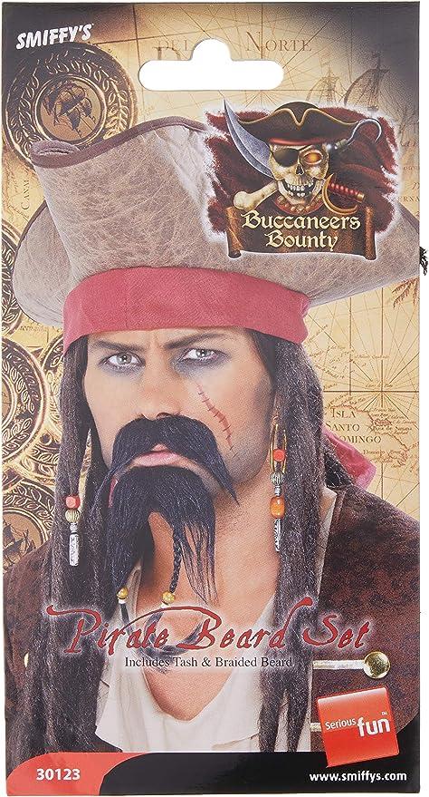Jack Sparrow Pirate Moustache Beard Fancy Dress Tash Black Adults Men Caribbean