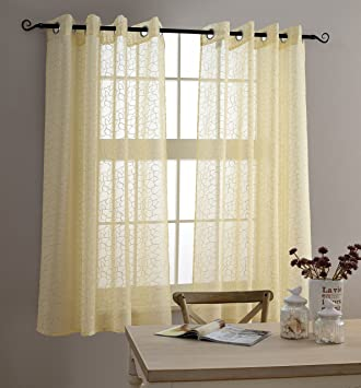 Sheer Curtains beige sheer curtains : Amazon.com: MYSKY HOME Top Grommet Window Embroidery Voile ...
