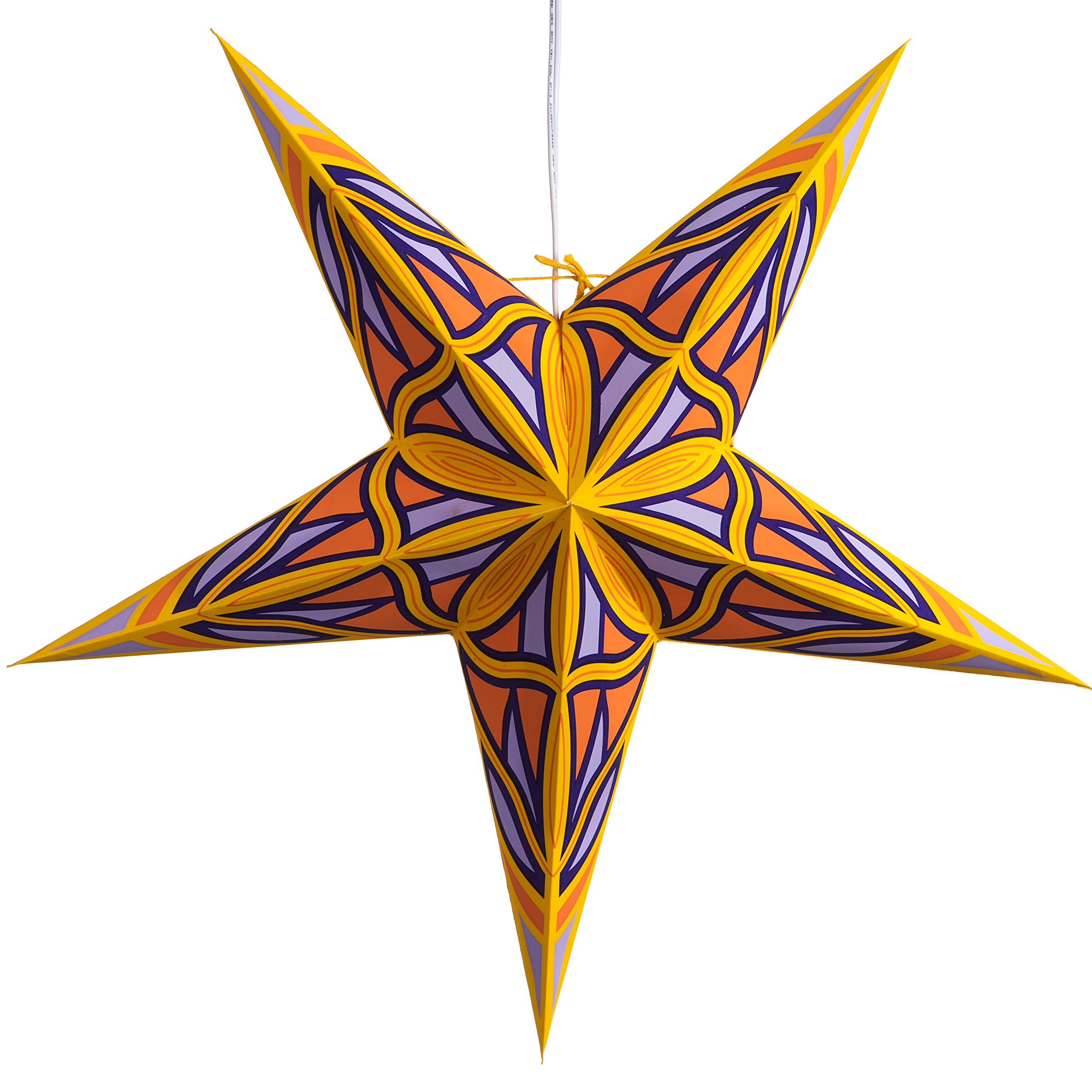 Mosaic Paper Star Lantern with 12 Foot Power Cord Included