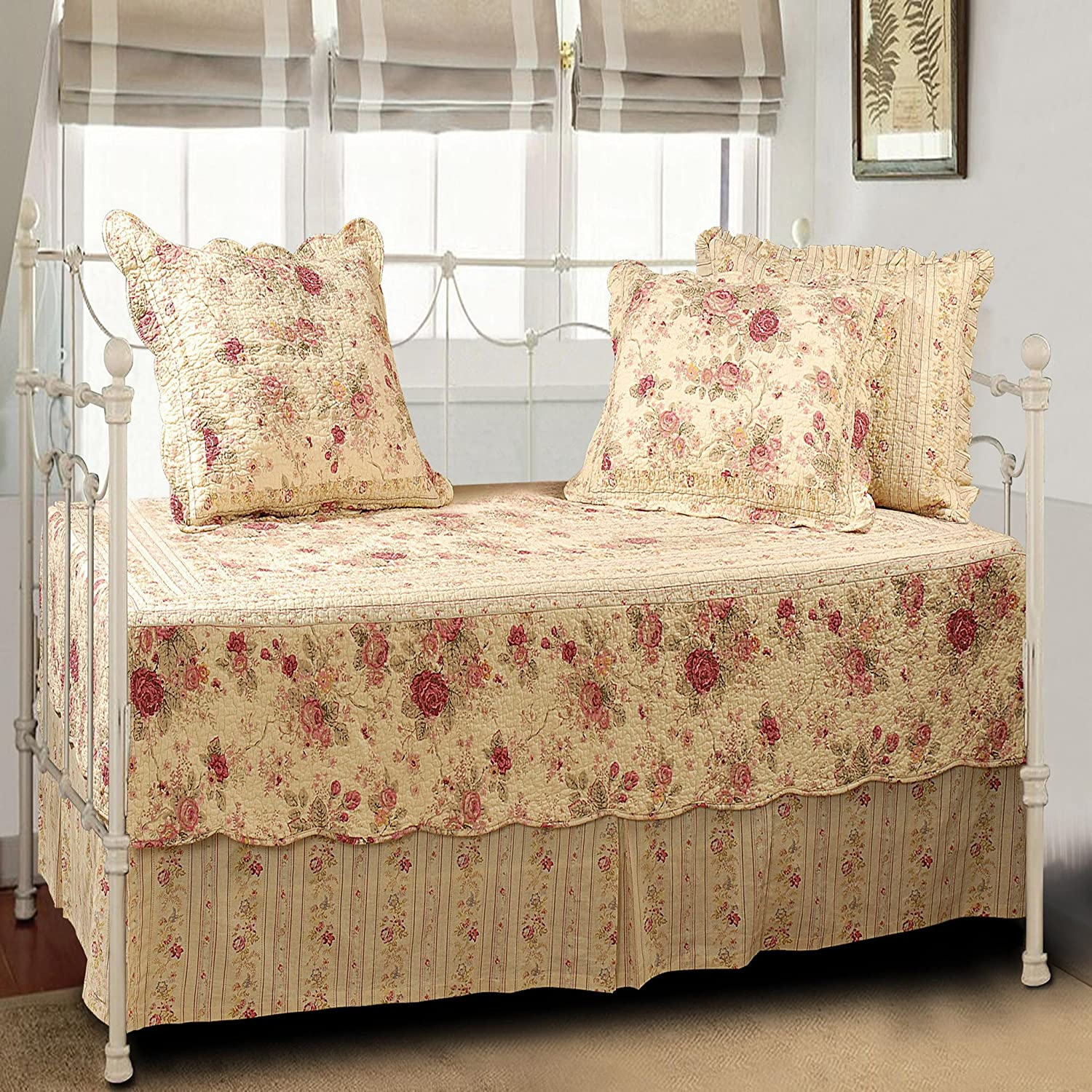 Overstock daybed bedding home design ideas - Greenland Home Antique Rose Quilted Daybed Set