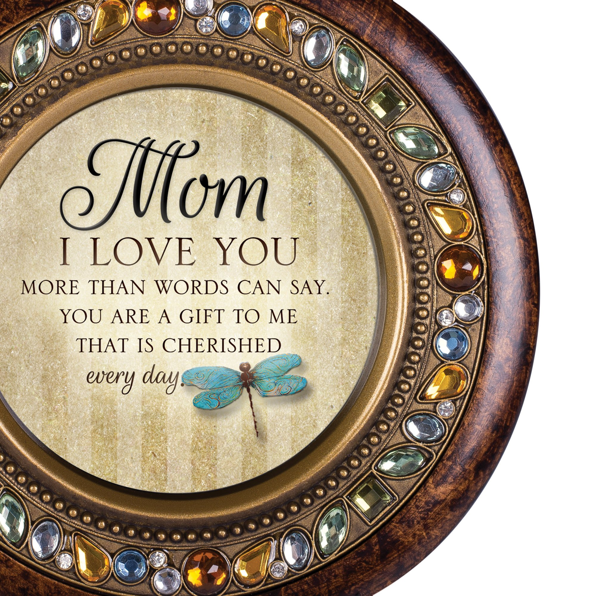 Cottage Garden Mom I Love You Every Day Jeweled Amber Earth Toned Round Music Box Plays Wind Beneath My Wings by Cottage Garden (Image #7)