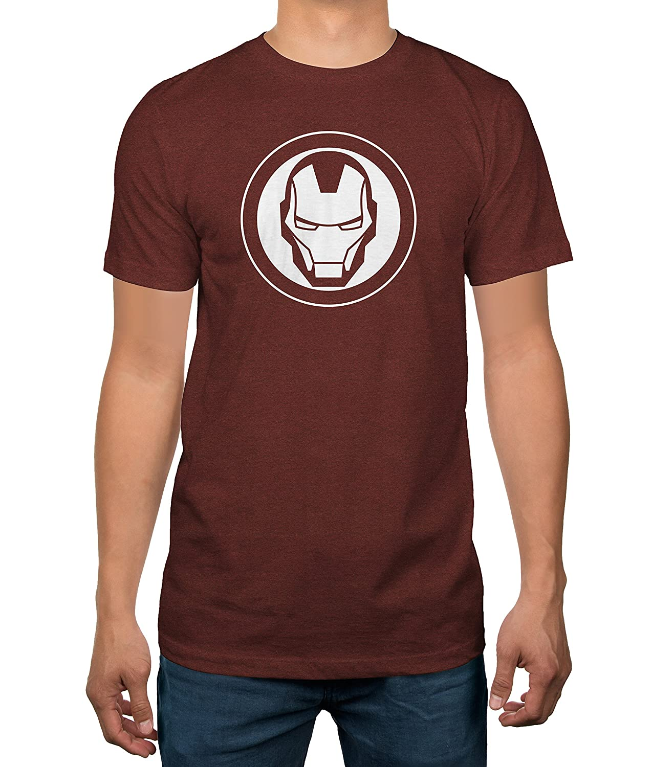 1563bc80 Amazon.com: Marvel Iron Man Logo Mens Brick Red T-Shirt (X-Large): Clothing