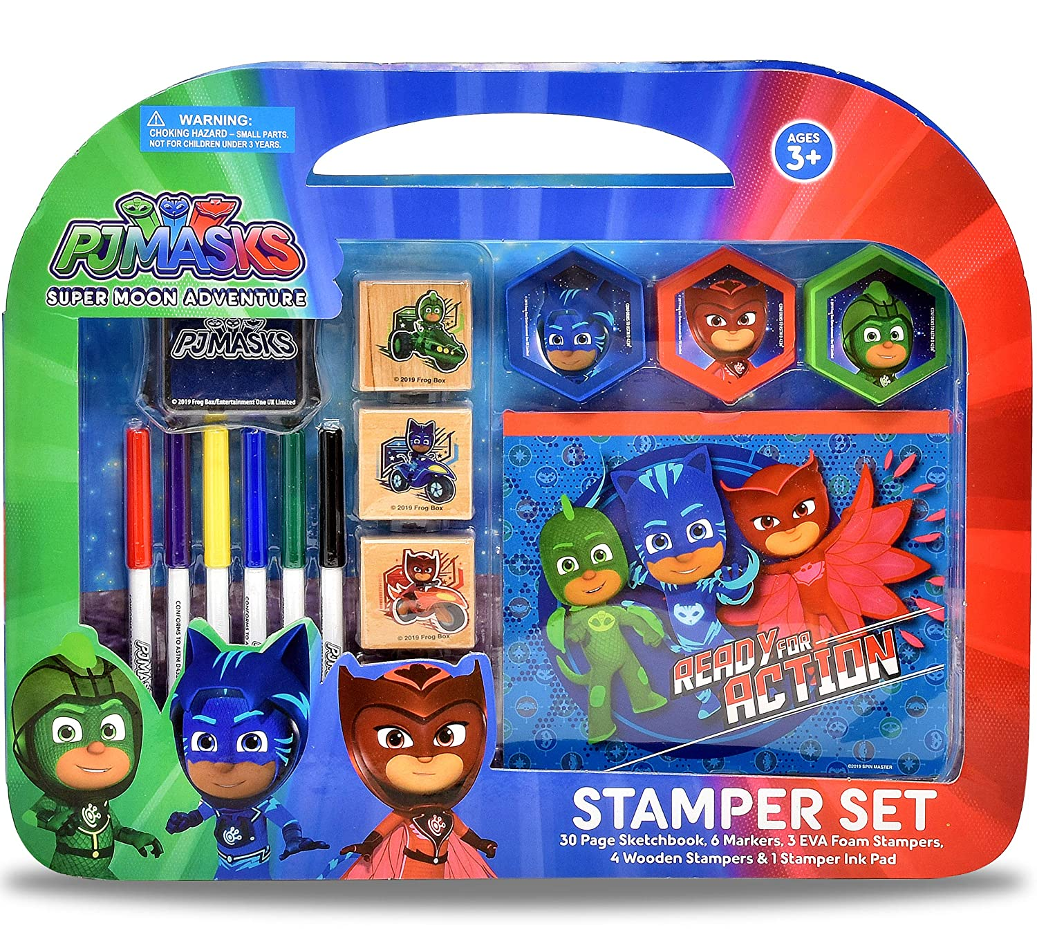 PJ Masks Coloring Stamper and Activity Set, Mess Free Craft Kit for Toddlers and Kids, Drawing Art Supplies Included Sketch Book, 6 Color Markers, 3 ...