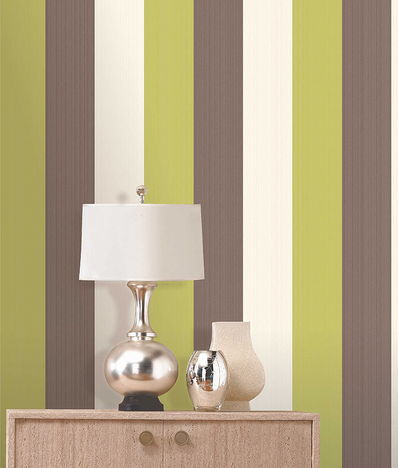 Photo Collection Lime Green Striped Wallpaper