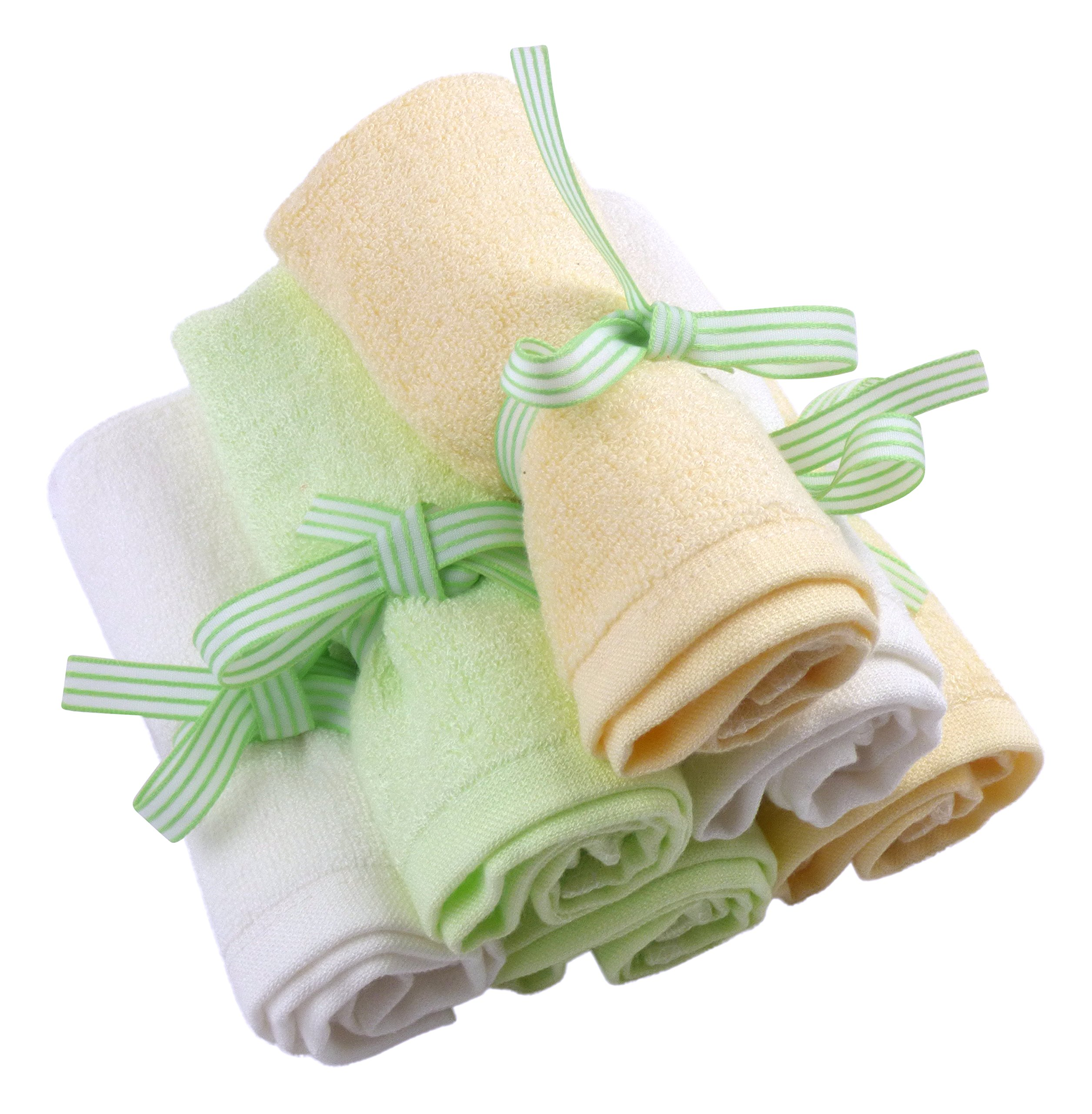 Le Petit Bamboo Baby Washcloths - Premium, Natural Organic Bamboo Wash Cloths - Softest Reusable Wipes - 6 Multicolor Towels by Le Petit Bamboo