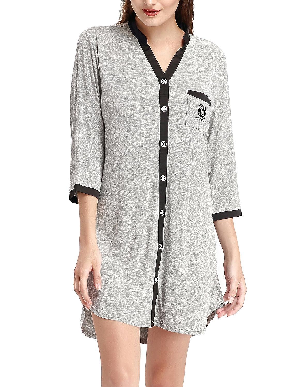 Womens Knit Short Sleeve Luxury Sleepwear Button Down Nightdress by NORA TWIPS(XS-XL)