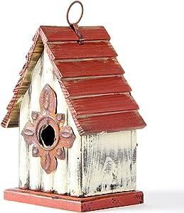 "Glitzhome Wooden Bird House Indoor Outdoor Decor Hanging Garden Birdhouse 8.94"" H"
