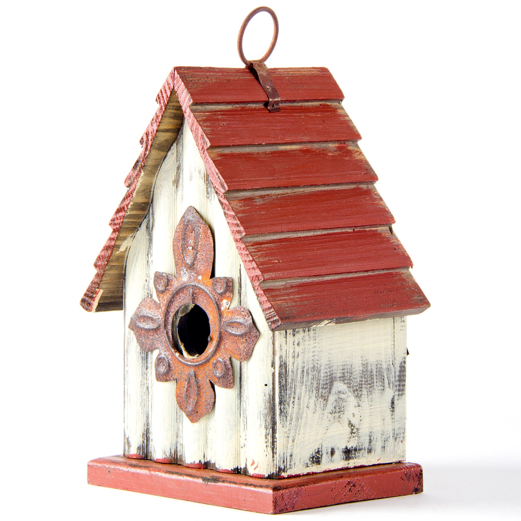 Glitzhome Tall White/Red Hand Painted Wood Birdhouse, 8.94''
