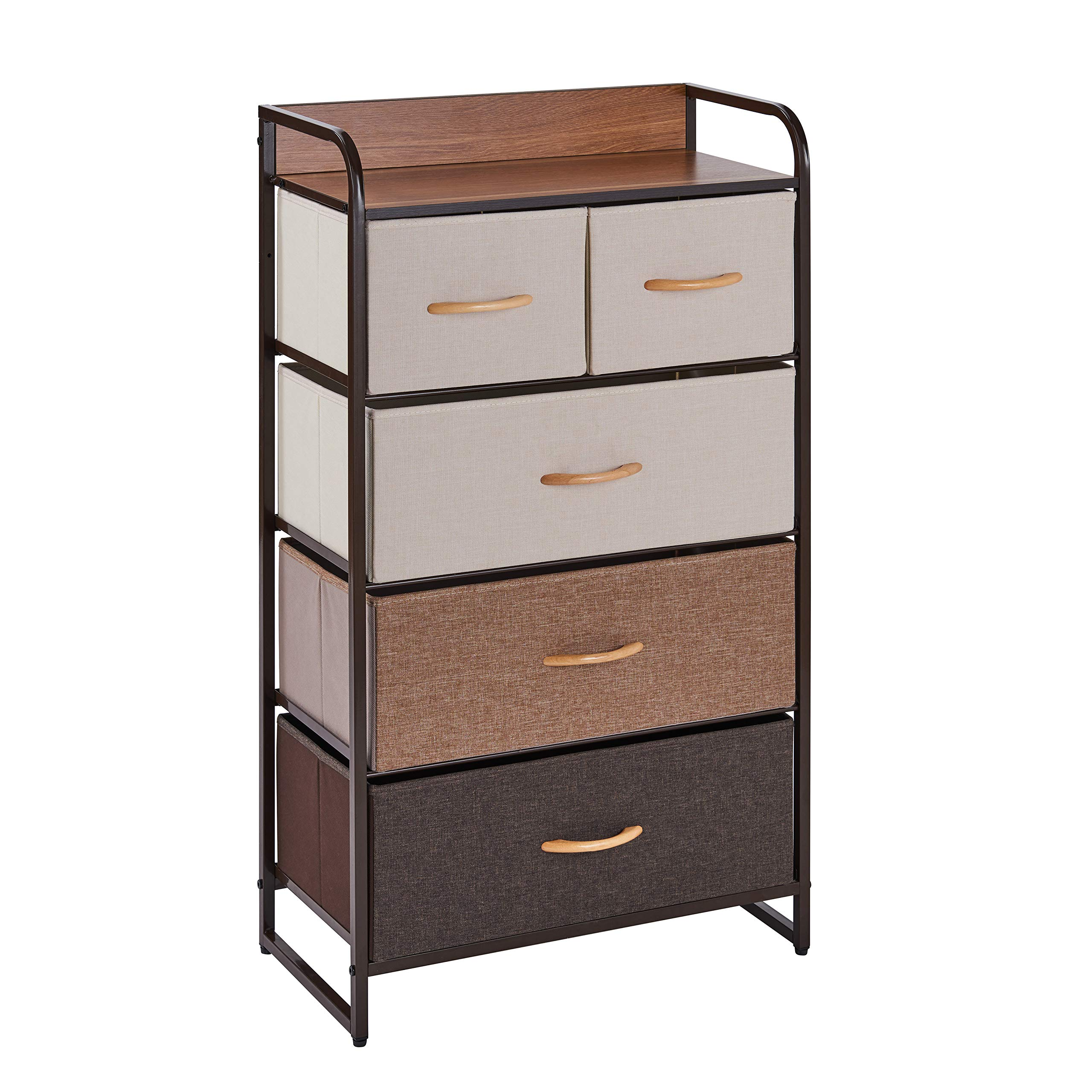 Danya B. SC5608 Decorative Storage for Small Spaces - Modern Chest Dresser with 5 Fabric Drawers by Danya B