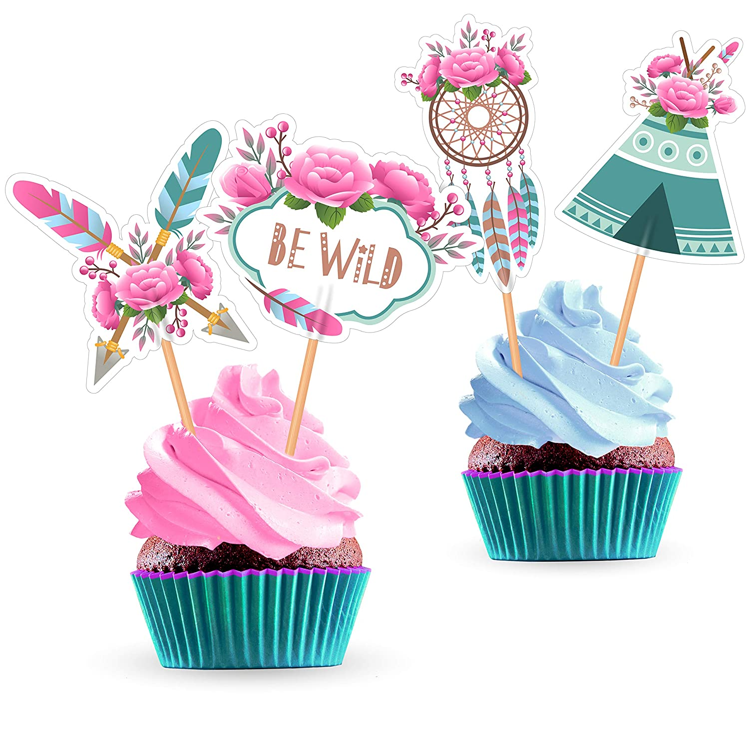 Fabulous Tribal Boho Cupcake Cake Toppers Decorations Supplies For Funny Birthday Cards Online Barepcheapnameinfo
