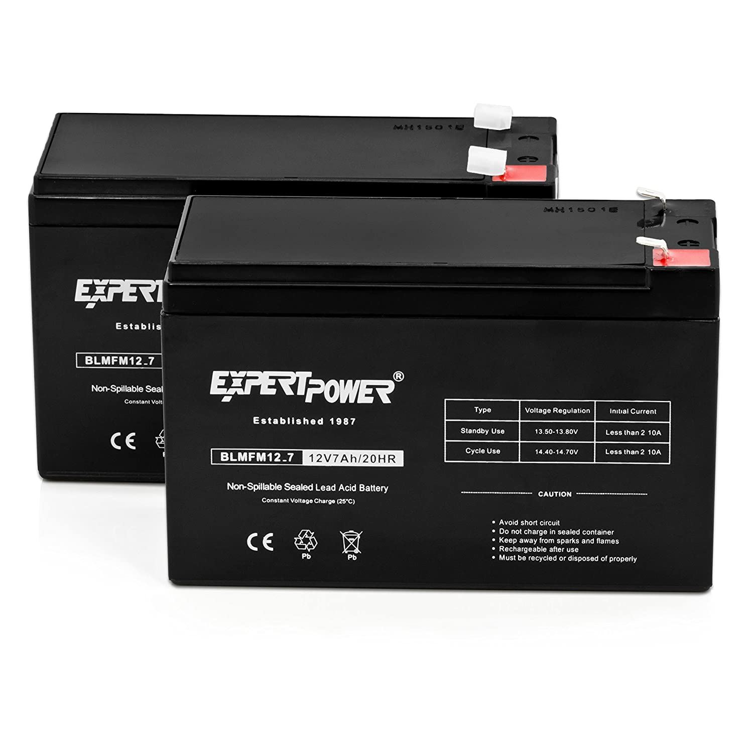 10 Pack Replaces APC Back-UPS ES 550 VA EXP1270| ExpertPower 12v 7ah Rechargeable Sealed Lead Acid Battery