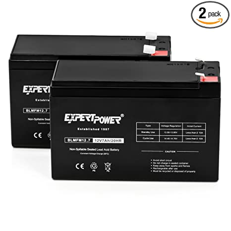 ExpertPower Standard 12V 7AH Rechargeable SLA Battery, (EXP1270-2) - 2 Pack