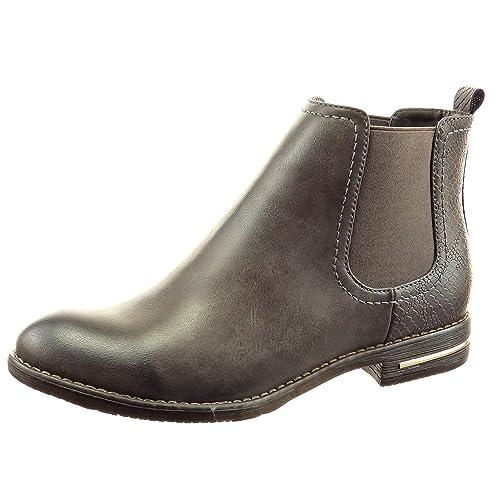 Sopily - Zapatillas de Moda Botines chelsea boots A medio muslo mujer piel de serpiente metálico