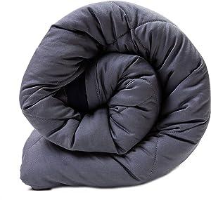 Aura Premium Weighted Blanket, Silky Cotton, Gray/Navy, Queen Size, 20lbs