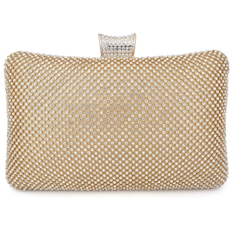 BAIGIO Sparkle Rhinestone Evening Clutch Purse Elegant Diamante Evening Bag Party Wedding Purses Handbag for Women (Gold)