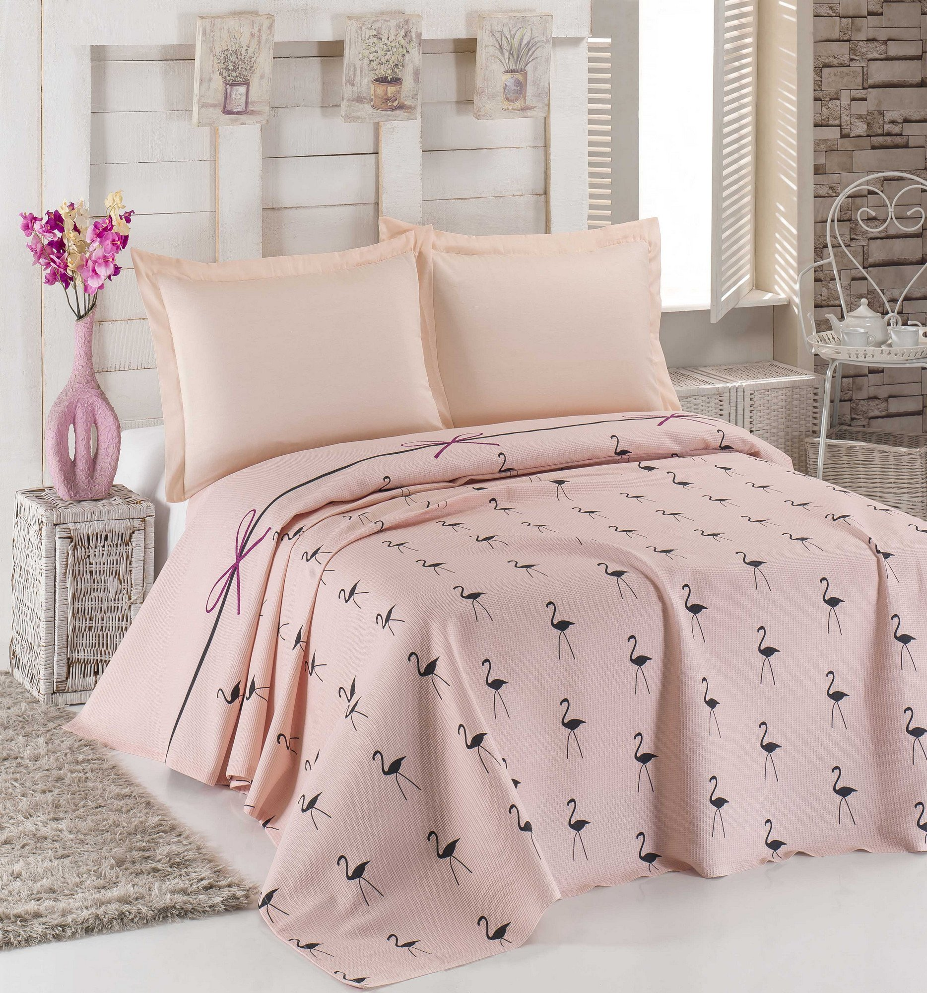 LaModaHome Luxury Soft Colored Bedroom Bedding 100% Cotton Double Coverlet (Pique) Thin Coverlet Summer/Flamingo Line Rope Bowtie Animal Pink Background/Double