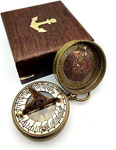 KRAFTBAZAR Pocket Sundial Compass, Both Side Handwork on The Sundial Bird with Wooden Box.