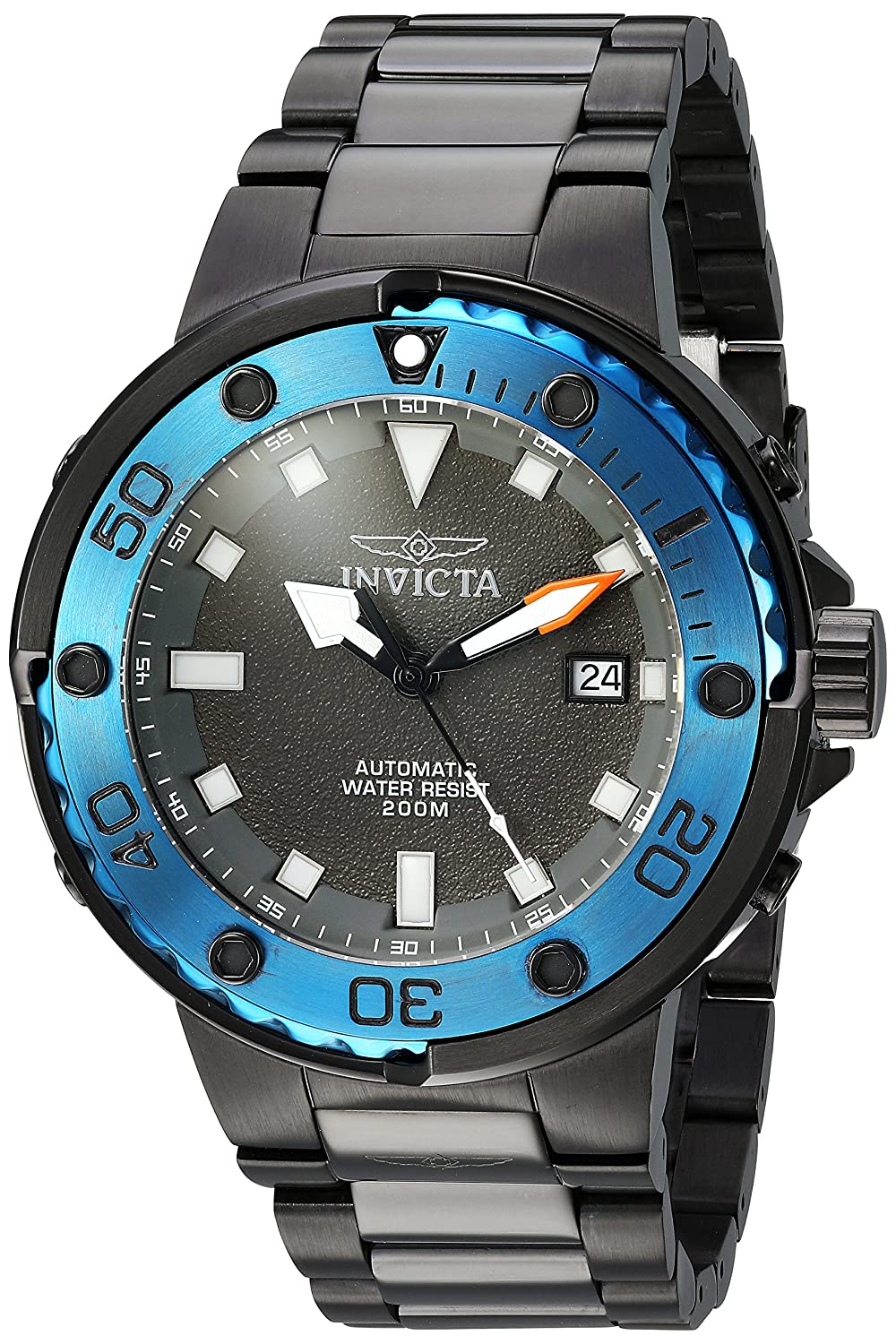 Invicta Men s Pro Diver Automatic-self-Wind Diving Watch with Stainless-Steel Strap, Black, 26 Model 24466