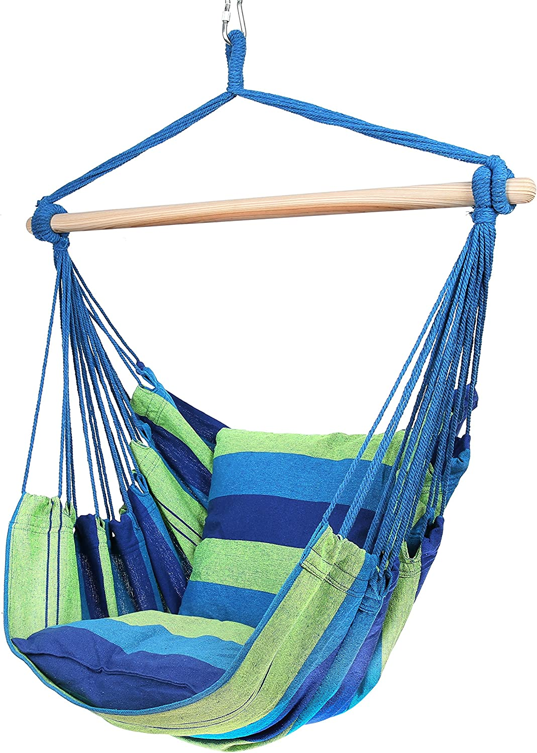 Amazon Com Blissun Hanging Hammock Chair Hanging Swing Chair With Two Cushions 34 Inch Wide Seat Blue Green Stripes Blue Green Stripes Garden Outdoor
