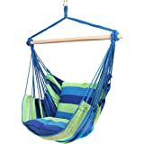 Blissun Hanging Hammock Chair, Hanging Swing Chair with Two Cushions, 34 Inch Wide Seat Blue & Green Stripes (Blue…