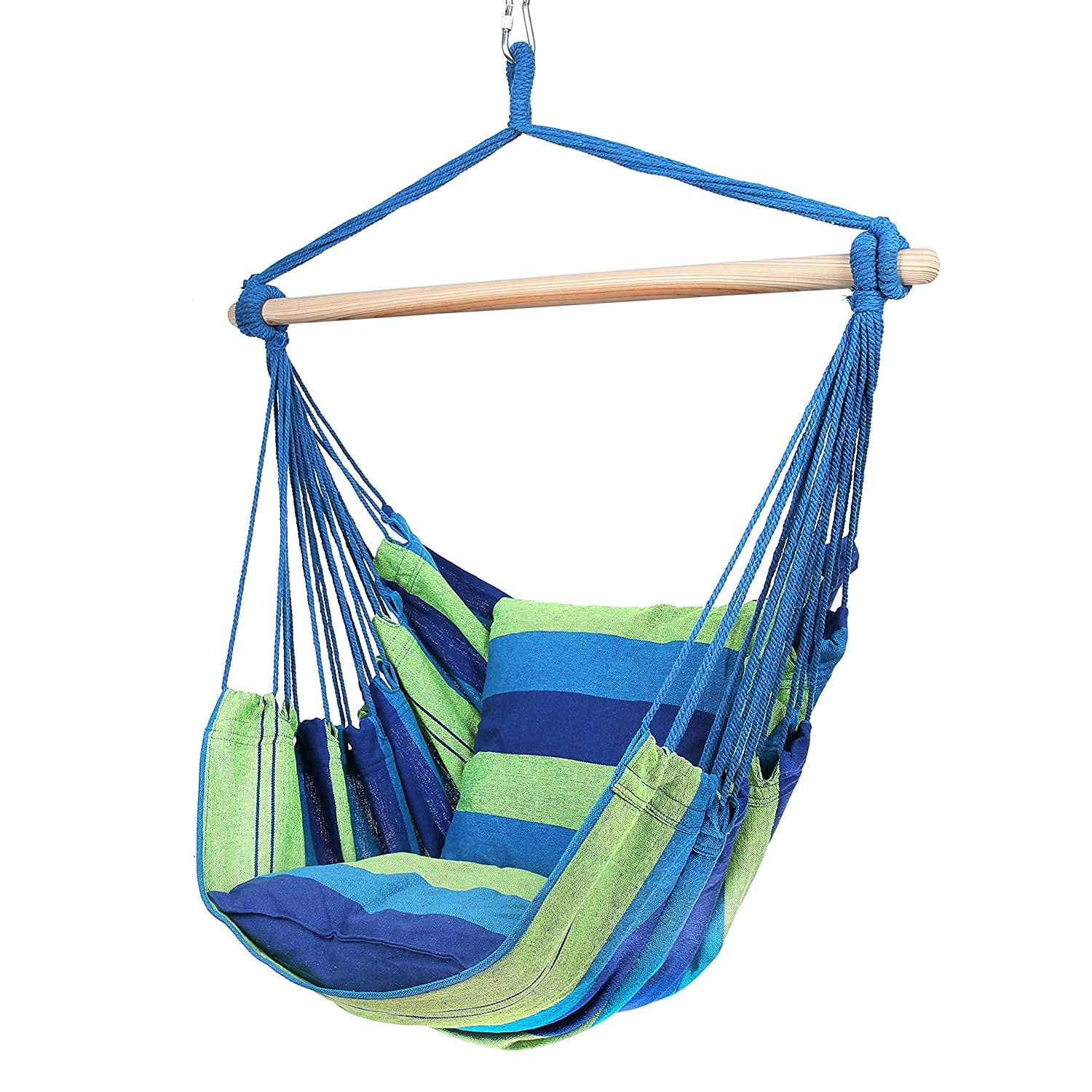 Blissun Hanging Hammock Chair, Hanging Swing Chair with Two Cushions, 34 Inch Wide Seat Blue Green Stripes