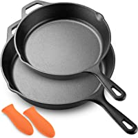 "Legend Cast Iron Skillet Set | Large 10"" & 12"" Frying Pans with Silicone Hot Sleeves for Oven, Induction, Cooking, Pizza…"