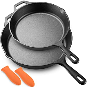 "Legend Cast Iron Skillet Set | Large 10"" & 12"" Frying Pans with Silicone Hot Sleeves for Oven, Induction, Cooking, Pizza, Sauteing, Grilling 