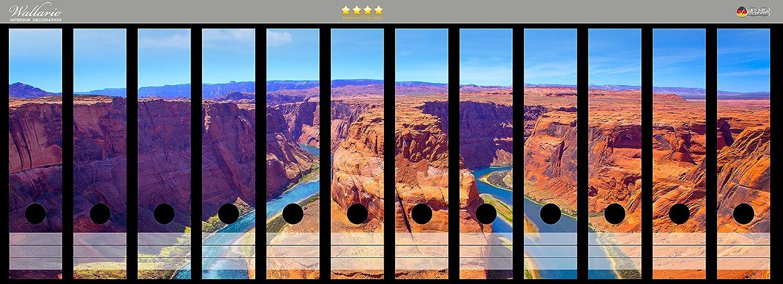 Wallario Ordnerrücken selbstklebend für 9 breite Ordner Mäander Colorado River