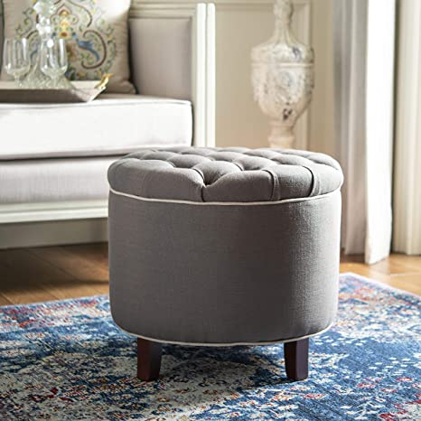 Awe Inspiring Safavieh Amelia Tufted Storage Ottoman Charcoal Forskolin Free Trial Chair Design Images Forskolin Free Trialorg