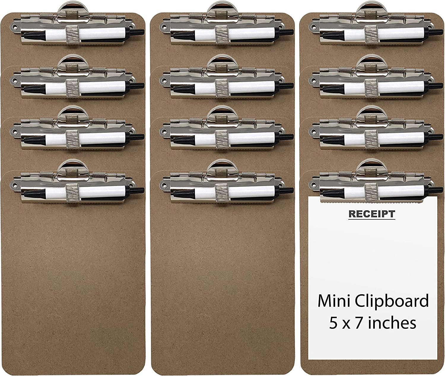 Trade Quest Mini Clipboard 5'' x 7'' Pen Holder Clip (Pen Included) (Pack of 12)