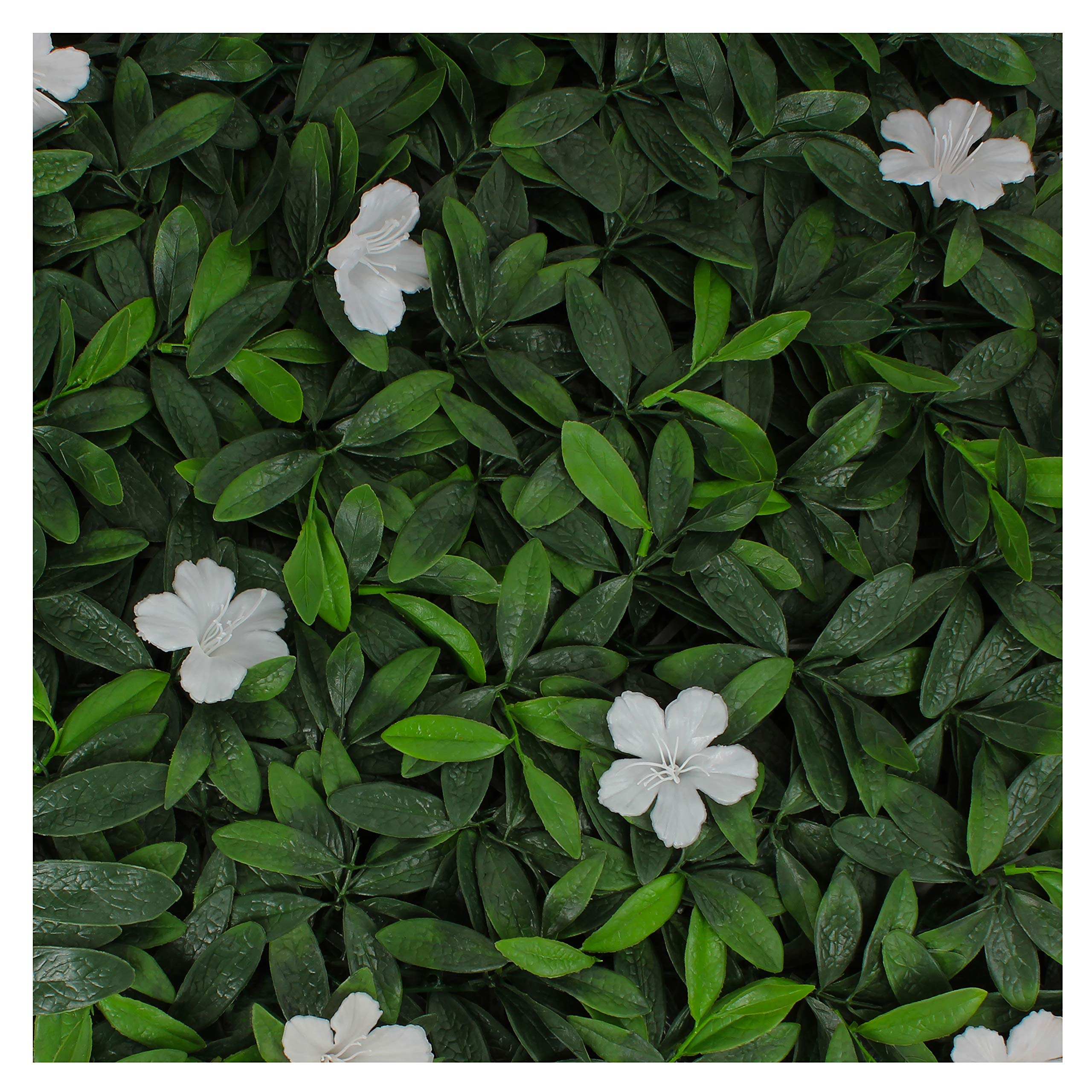 Milltown Merchants Artificial Hedge - Outdoor Artificial Plant - Great Boxwood and Ivy Substitute - Sound Diffuser Privacy Fence Hedge - Topiary Greenery Panels (12, White Cuckoo Flower) by Milltown Merchants