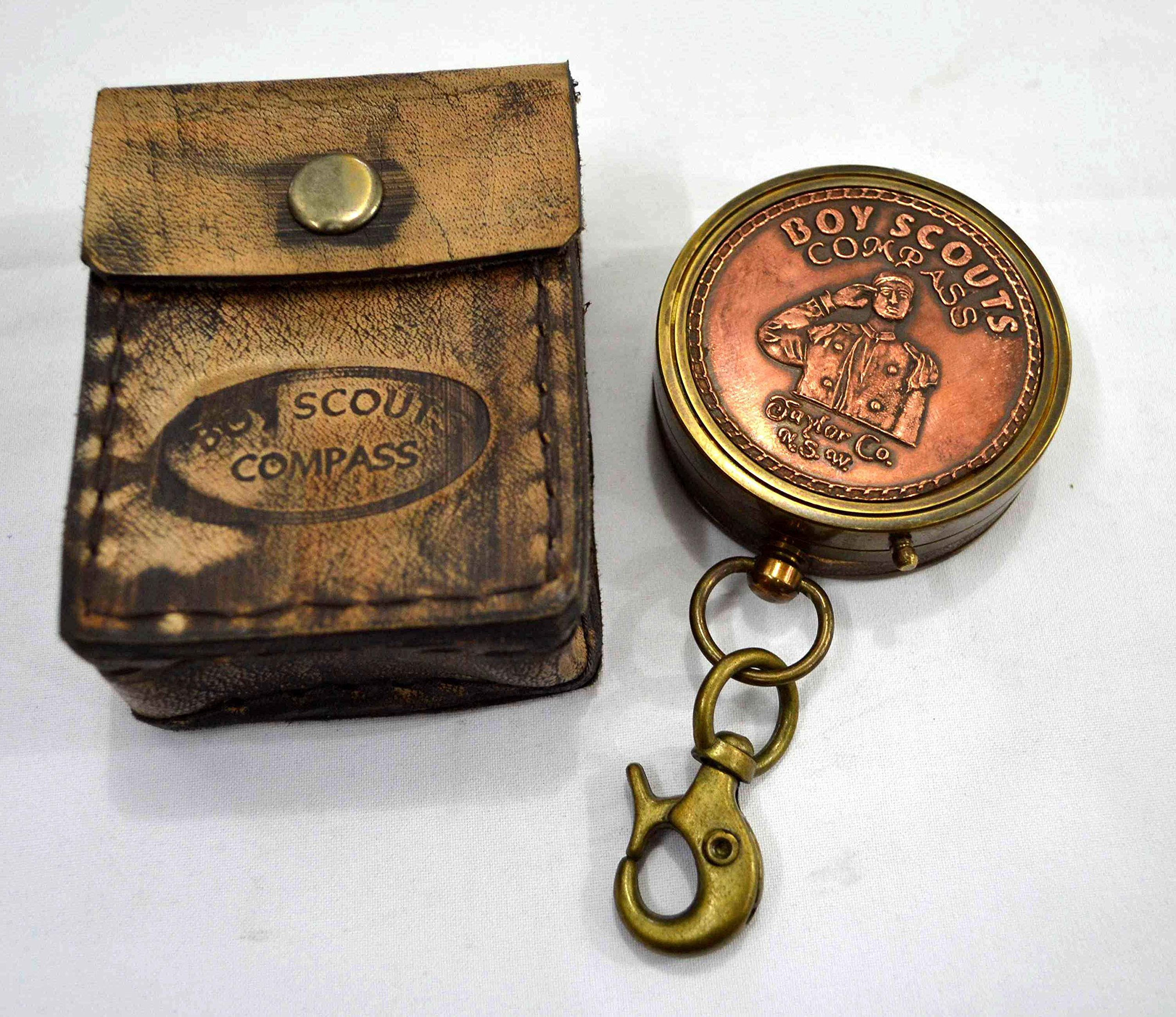 Brass Nautical Boy Scout Pocket Compass 2 inch Compass in Gift Case