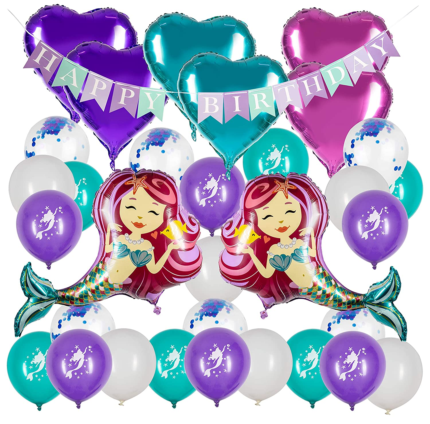 Mermaid Party Supplies - Mermaid Decorations - Mermaid Balloon - Happy Birthday Banner - Under The Sea Theme – Mermaid Birthday Party Supplies Joeyfrad