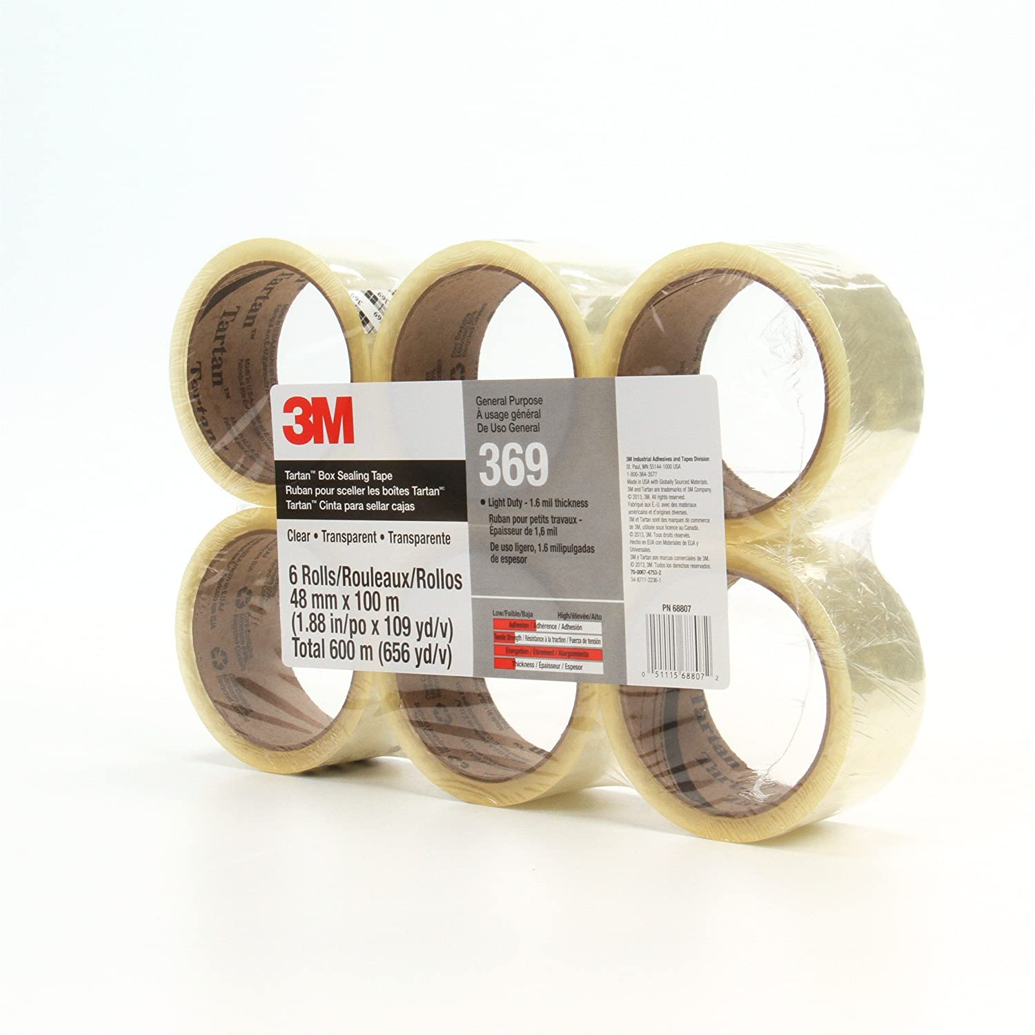 Tartan Box Sealing Tape 369 Clear 48 mm x 50 m Conveniently Packaged Pack of 6