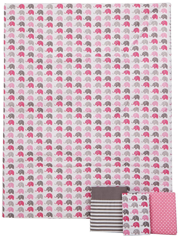 象ピンク/グレー4 pcの幼児の寝具セット   B00KUL741M