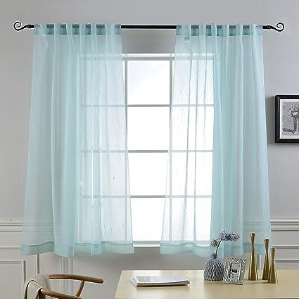 MYSKY HOME Back Tab Rod Pocket Window Crushed Voile Sheer Curtains Aqua 51 X