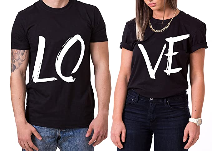 Love King Queen Partnerlook Camiseta de los Pares Dulce para Parejas como Regalos, Größe2: