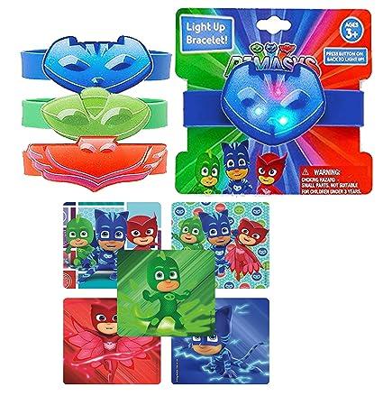 Pj Masks Party Favors! Kids Light Up Rubber Wristband Bracelets (Set of 3)